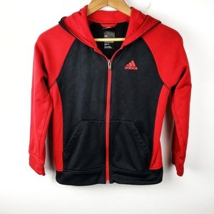 Adidas | Red & Black Boys Climawarm Zip Hoodie M